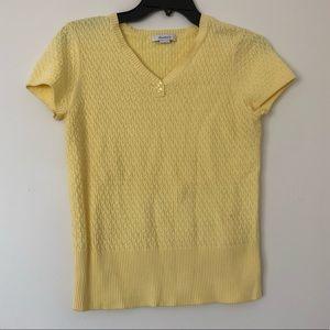 Dress Barn Womens Top Knit V-neck Yellow S